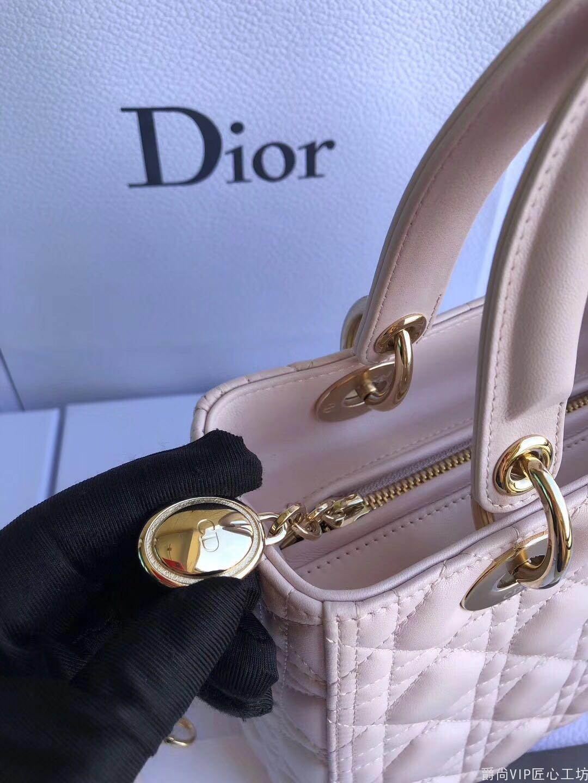 Dior 经典5格戴妃包·顶级进口原厂羊皮  浅樱花粉*金扣 24CM