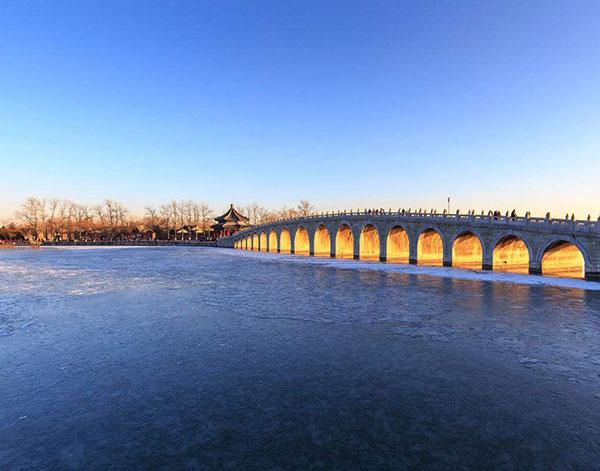 颐和园昆明湖冰面十七孔桥廓如亭