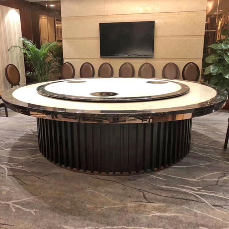 大理石电动圆桌