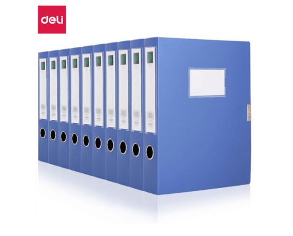 得力(deli)10只 55mm牢固耐用进口材料粘扣档案盒