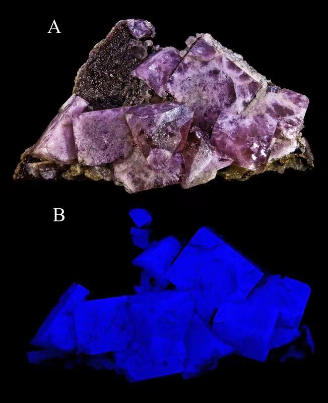 萤石-紫外荧光灯下
