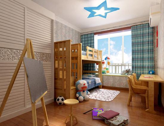 儿童房加书房装修效果图图片