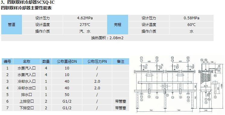 四联取样冷却器的结构图